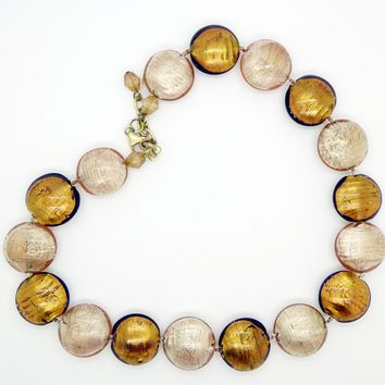 Le Perle Sterling Silver Vermeil Dark Gold and Tan Venetian Murano Foil Glass Beaded Necklace