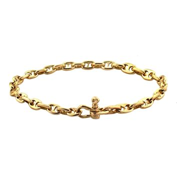14K Solid Yellow Gold Anchor Chain Bracelet - 4mm