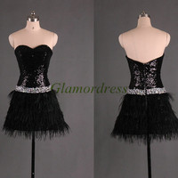 black sequins prom dresses with ostrich feathers short sweetheart gowns for christmas party unique rhinestone homecoming dress