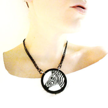 Zebra Necklace -  Black and White Zebra Pendant Hand Painted - Wooden Jewelry Painted Animal Jewelry - Wearable Art