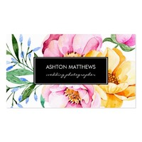 Elegant Watercolor Floral Bouquet Business Card
