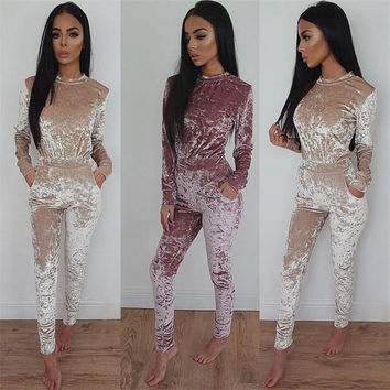 4 solid color o-neck long sleeve jumpsuit autumn winter sexy women overalls rompers womens jumpsuitchristmas combinaison femme