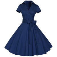 Stand Collar Bow Waist Short Sleeves A-line Dress