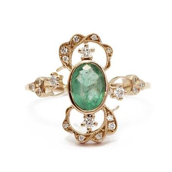 18K Rose Gold Oval Cut Green Emerald Naturally Mined Diamond Engagement Ring