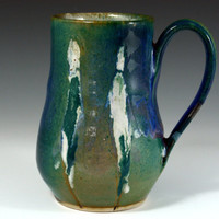 Large  Green purple and blue mug, Coffee Mug  18 oz, handmade ceramic Mug, Pottery coffee cup with figure.