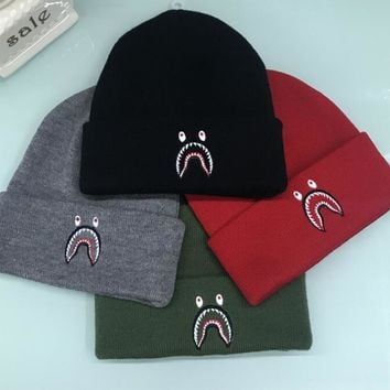 BAPE AAPE Popular Men Women Cute Shark Mouth Embroidery Warmer Knit Hat Cap