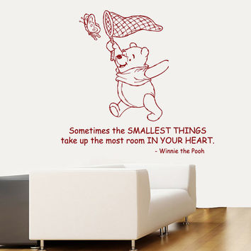 Wall Decals Vinyl Decal Winnie the Pooh Quote Sometimes The Smallest Things... Home Vinyl Decal Sticker Kids Nursery Baby Room Decor kk87