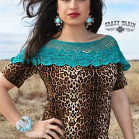 Turquoise Leopard N'Lace Top