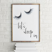 "Bedroom Prints Dorm Decor Dorm Prints Dorm Art Wall Print Printable Art ""Let's Sleep In"" Print Gallery Wall Prints Typography Prints"