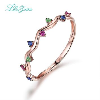 I&zuan 14K Rose Gold Ruby/Sapphire/Emerald Wedding Ring Trendy Geometric Flower Gemstone Ring Fine Jewelry For Women