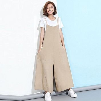 Jumpsuits for Women Sleeveless Loose Cotton Linen Long Wide Legs Jumpsuit Party Jumpsuit