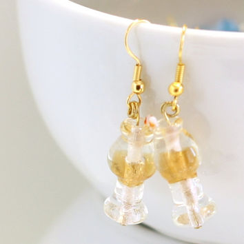 White Wine Glass Lampwork Glass Bead Earring / Wine club earrings / womens jewelry beaded accessories