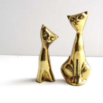 Vintage Brass Siamese Cats. Mid Century Modern Home Decor. Wedding Bedroom Office Decor