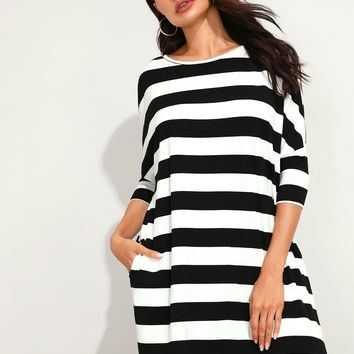 Batwing Sleeve Striped Dress