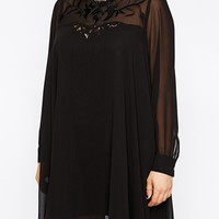 ASOS CURVE Exclusive Pleat Swing Dress With Embroidery