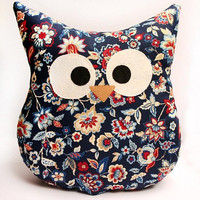 Owl Pillow - Blue Floral - English Garden - Large - Ready To Ship!