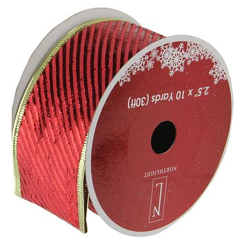 "Shiny Red Diagonal Striped Gold Wired Christmas Craft Ribbon 2.5"" x 10 Yards"
