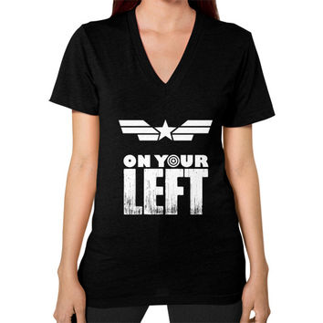Captain america on your left V-Neck (on woman)