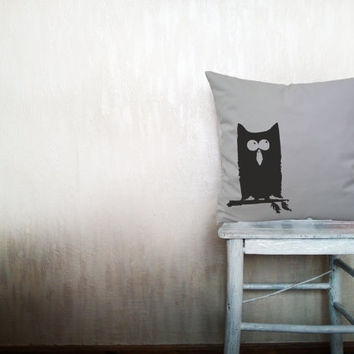Owl pillow decorative throw pillow cover gray cotton toss bird pillow cover hand painted cover rustic bedding bedroom set 18x18 inches