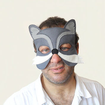 ADULT Wof Mask, Carnival Felt Animal Mask, Dress up Party Accessory, Men, Women Mask, for Him, for Her