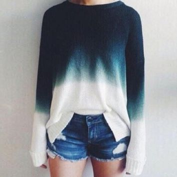 Fashion Womens Gradient Loose Hedging Sweater
