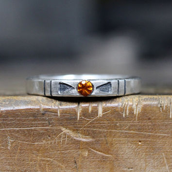 Tribal Orange Citrine Arrow Silver Ring Geometric Rustic - Banded Southwest