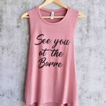 distracted - see you at the barre - workout tank top - mauve