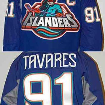 throwback ice hockey jersey91 John Tavares Jersey With The Fisherman Logo(1996) Men's 100% Throwback Hockey Jerseys Blue Any Name and Any N
