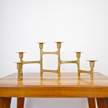 Mid-Century Modern Solid Brass Architectural Candelabra 50s Home Decor Articulating Candle Holder Gold
