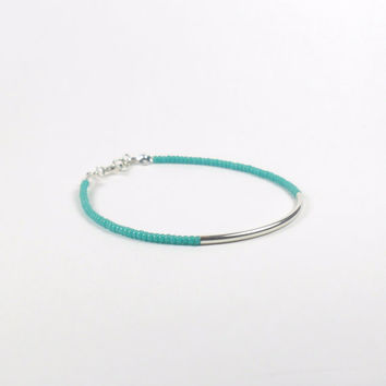 Turquoise Seed Bead Stacking Friendship Bracelet with Sterling Silver Tube Minimalist Jewellery