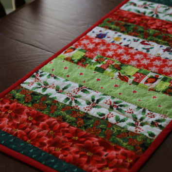 Reversible Christmas Table Runner, Handmade Quilted Holiday Table Topper