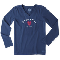 Women's Grateful Heart Long Sleeve Crusher Vee