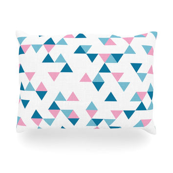 """Project M """"Triangles Pink"""" Blush Blue Oblong Pillow"""