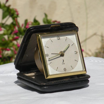 French vintage alarm clock, Jaz travel clock, vintage alarm clock, mid-century clock, french clock, travel clock, clock, vintage clock, jaz