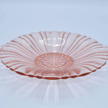 "Anchor Hocking ""Old Cafe"" Pink Depression Glass Dish Vintage Pink Glass Old Bowl with Handles ca 1930s Fluted Design Serving Tray"