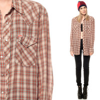 Plaid Western Shirt 70s Pearl Snap Oversized Button Down Top METALLIC 1970s Vintage Cowboy Brown White Long Sleeve Men Extra Small Medium XS