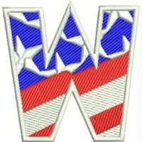 W Alphabet Letters of US Flag Iron on Small Badge Patch for Biker Vest