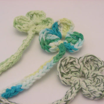 Crocheted Irish Shamrock Bookmark with Charm
