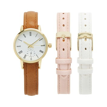Faux Leather Analog Watch Set