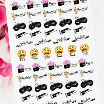 Shopping, Manicure Pedicure Nails, Spa Day, Mascara, Workout Fitness and Lady Time of the Month Reminder Stickers for your Planner