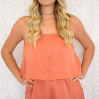 Rust Strapless Layer Romper