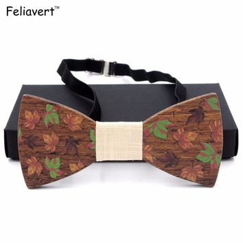 2017 Brand New Solid Wood Bow Tie For Man Fashion Handmade Bow Ties Butterfly Gravata Ties Dot Geometric Floral Wooden Bow Tie