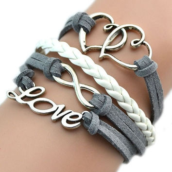 Infinity Heart Love Friendship Antique Silver Leather Cute Charm Bracelet = 1946062980