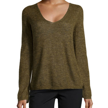 Women's V-Neck Brush Knit Sweater, Olive - Halston Heritage - Olive