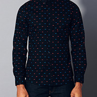 Slim Fit Bow Print Shirt Black/Red X-Large