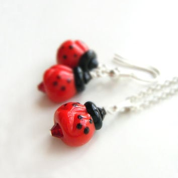 Lady Bug Necklace and Earring Set - Ladybird Jewelry Set, OOAK - 'Ladybugs'