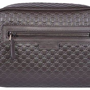 Gucci Men's Leather Micro GG Guccissima Large Toiletry Dopp Bag (Brown)