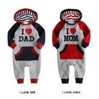 Lovely I Love Mam Dad Baby Kids Girls Boys Children Jumpsuit Outfits Set Hoodies [7672587142]