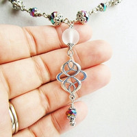 Rainbow Crystal & Clear Sea Glass Beaded Necklace with an Ornate Silver Pendant