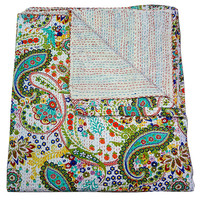 White Paisley Handmade Kantha Quilt, Indian Vintage Bedspread Bedding Kantha Throw, Cotton Gudri Reversible ALL size are available